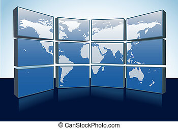 World map monitors display Earth map on screens - A wall of...