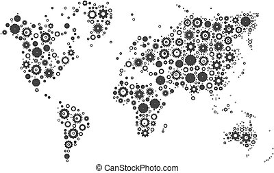 Creative abstract transparent cog wheels world map vector vector world map mosaic of cog wheels gumiabroncs Images