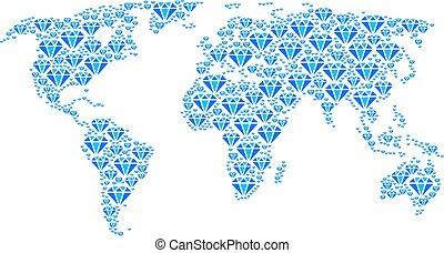 World Map Mosaic of Diamond Icons