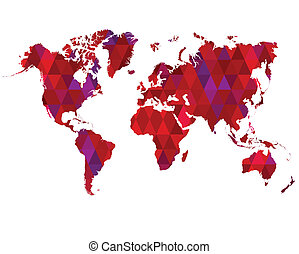 World Map Mosaic Tiles Abstract