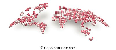World map of 3D bricks