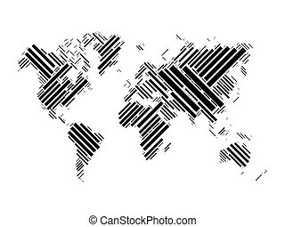 World map of black blocks