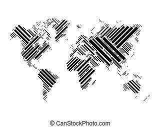 World map of black blocks