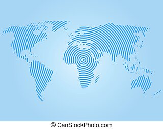 World map of blue concentric rings on white background....