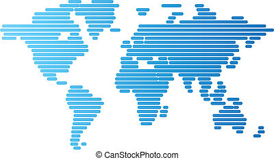 World map of blue rounded lines - Abstract computer graphic...