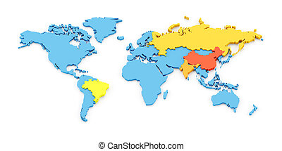 3d map of the fast growing developing economies of Brazil, Russia, India, and China, known as BRIC