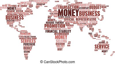 World map of business word cloud tags