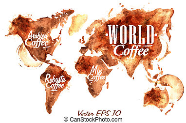 World Map of coffee drawn pour coffee with the inscription arabica coffee, Robusta coffee with splashes and blots prints Cup vector 10