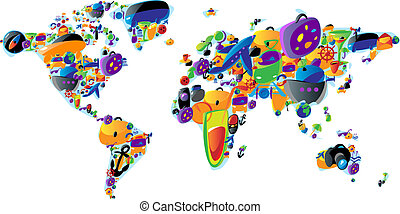 World map of colorful icons