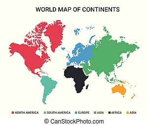 World Map of Continents Vector Design