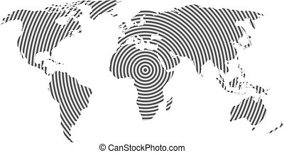 World map of grey concentric rings on white background....