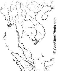 World Map of INDOCHINA: Indochinese Peninsula, Thailand, ...