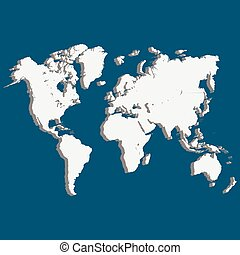 world map of planet Earth 3D