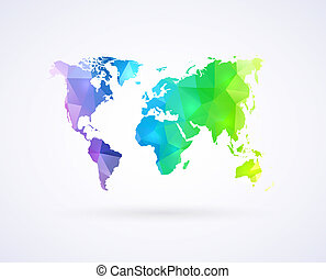 World map of rainbow color - Geometric triangle world map of...