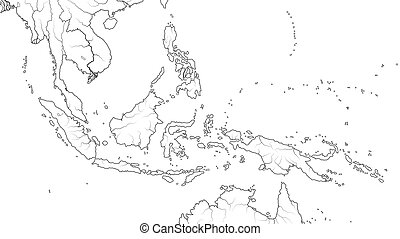 World Map of SOUTHEAST ASIA REGION: Indochina, Thailand, Malaysia, Indonesia, Philippines. (Geographic chart).