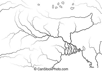 World Map of The GANGES RIVER Valley & Delta: India, Nepal,...