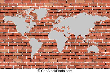 World map on a brick wall building brick wall with drawn vector world map on a brick wall gumiabroncs Gallery