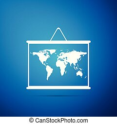 World map on a school blackboard icon isolated on blue background. Drawing of map on chalkboard. Flat design. Vector Illustration