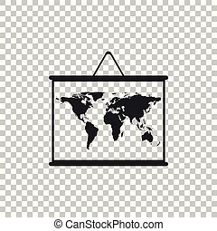 World map on a school blackboard icon isolated on transparent background. Drawing of map on chalkboard. Flat design. Vector Illustration