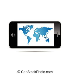 World Map on a smartphone