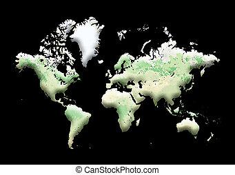 World Map on black background.
