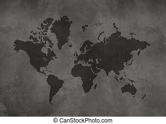 World map on black concrete wall background