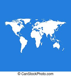 World map on blue background. Vector Illustration