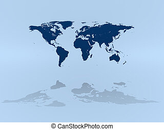 World map on blue