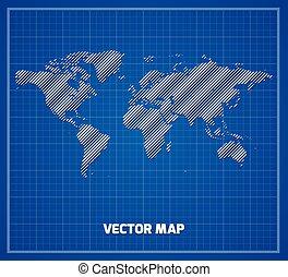 World map on blueprint. Vector illustration.