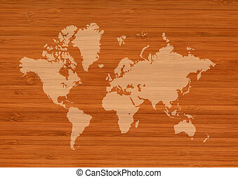 World map on brown wooden wall background