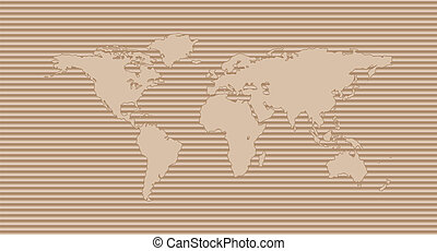 World map on corrugated cardboard background. International...