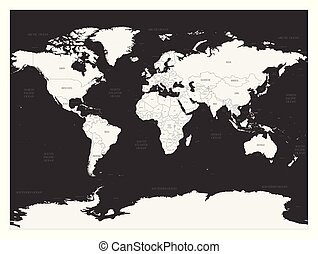 World map on dark background. High detail blank political map. Vector illustration