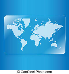 world map on glass plate background