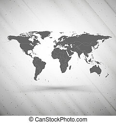 world map on gray background, grunge texture vector illustration