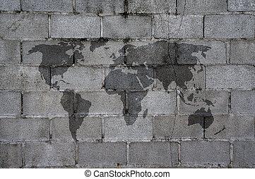 world map on grey block cement texture