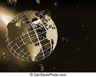 World map on grid. - 3D illustration, background, World map ...
