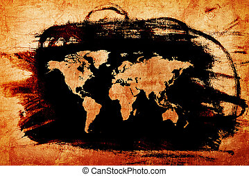 World map on Grunge old paper texture - Old World map on...