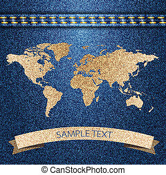 World map on jeans background texture. Vector.