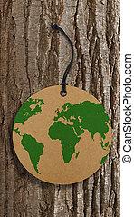 World map on label