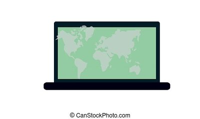 World map on laptop screen