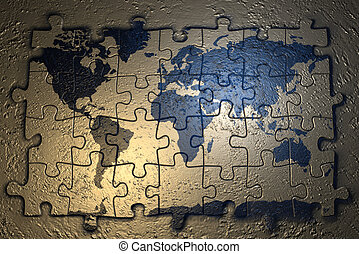 World map on puzzle drawings search clipart illustration and world map on puzzle 3d render gumiabroncs Choice Image