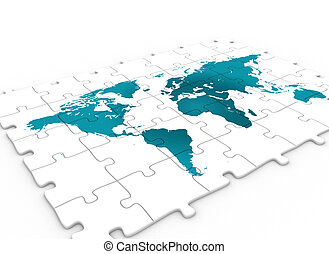 World map on puzzle - Blue world map on puzzle pieces 3d...