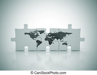 World map on puzzle drawings search clipart illustration and world map on puzzle gumiabroncs Choice Image