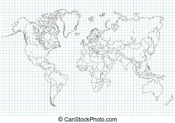 World Map on School Graph Paper - World Map Illusration on a...