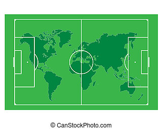World map on the soccer field