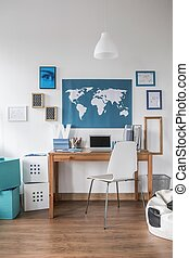 World map on the wall in teen room