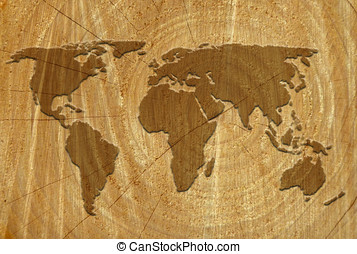 World map on wood surface - World outline map on surface of...