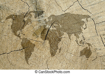 world map on wooden texture background