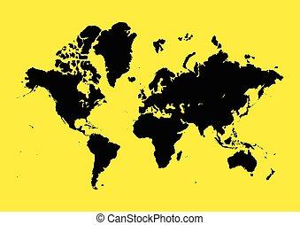 World Map On Yellow