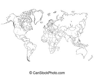 Outline world map vector clipart illustrations 27750 outline world world map outline illustration gumiabroncs Images